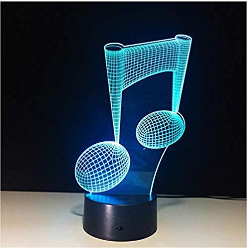 Cambiar Lámpara Led 3D Nota Música Noche Luz Musical Nota Instrumento Luz Luminaria Decoración del Hogar USB Led Música Amantes Regalo 7 Color