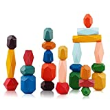 FancyWhoop Wooden Stone Stacking Pietre Impilabili 26 pezzi Gioco Legno Dellequilibrio Set di Rocce in Legno Blocchi di Bilanciamento Blocchi di Pietra Giocattoli Educativo per Bambini Ragazzi Ragazze