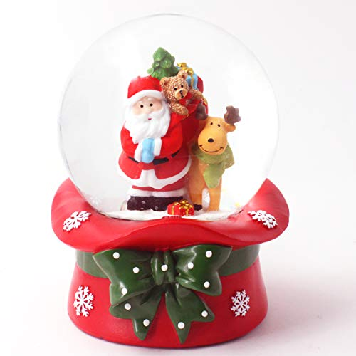 KELIVOL 100mm Christmas Snow Globe, with 8 Music and Color Lights, Music Water Snowball, Santa Claus, Snowman, Reindeer, Music Box, Christmas Decoration, Gift for Kids(Santa Claus and Reindeer)