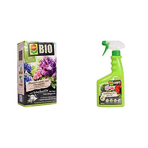 COMPO Bio Rhododendron Langzeit-Dünger für alle Rhododendren und andere Morbeetpflanzen, 5 Monate Wirkung, 2 kg & Schädlings-frei plus AF, Bekämpfung von Schädlingen an Zierpflanzen, Gemüse, 500 ml