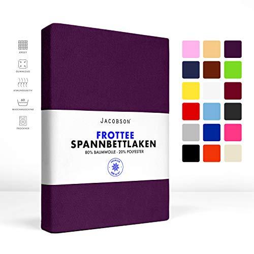 Jacobson Premium FROTTEE Spannbettlaken Spannbetttuch Bettlaken Baumwolle ca. 200g/m² (140x200cm - 160x200cm, Royal Lila)