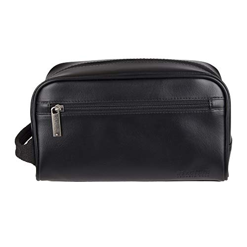 Kenneth Cole Men's Top Zip Single Compartment Travel Kit with Contrast Stitch Detail, Black with Beige Lining, One Size