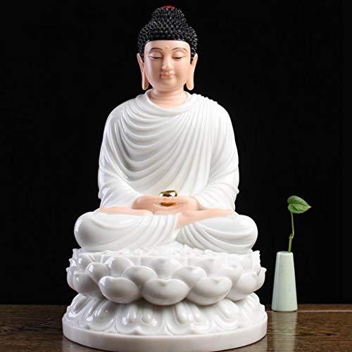 LLKOZZ Estatua De Buda De Sakyamuni Buda, Estatua De Mármol Blanco De La Casa, For El Hogar, Opcional Multicolor, 18 × 18 × 30 Cm (Color : White)