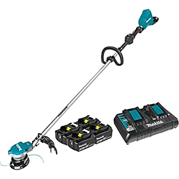 Makita XRU15PT1 Lithium-Ion Brushless Cordless (5.0Ah) 18V X2 (36V) LXT String Trimmer Kit with 4 Batteries, Teal