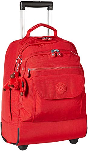 Kipling Sanaa Large Rolling, Adjustable, Padded Backpack Straps, Zip Closure, cherry tonal, One Size