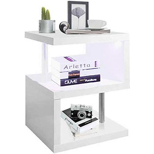 bigzzia LED Side Table - White High Gloss End table - Small Coffee Table 2 Tier Storage Shelves Unit for Living Room Bedroom
