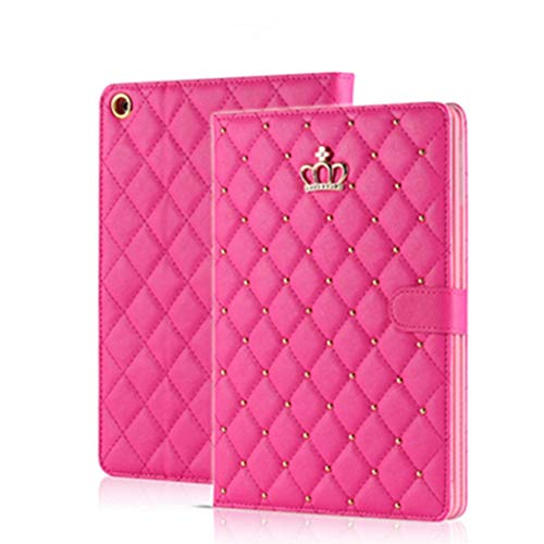 Topwin iPad 9.7 2018 2017/ iPad Air 2 / iPad Air Case,Crown Design Bling Diamond Cute Elegant PU Leather Smart Auto Sleep/Wake Stand Shockproof Case for Apple iPad 9.7 iPad 5th/6th/iPad Air (Rose Red)