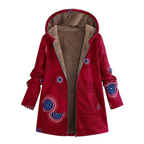 HaiDean Abrigo De Invierno Estampado Abrigo Mullido Retro Abrigo Modernas Casual De Mujer Chaqueta con Capucha Chaquetas Suaves Moda 2020 Ropa De Mujer (Color : Rot, One Size : L(B:110Cm))