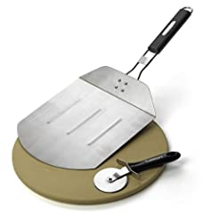 "ESSENTIAL PIZZA TOOLS: Set includes 13"" Pizza Stone; Folding Pizza Peel and Pizza Cutter PIZZA PEEL: Folding handle stainless pizza peel stores easily PIZZA WHEEL: The pizza wheel cutter easily slices through pies for quick cutting PIZZA STONE: The 1..."