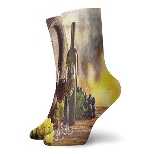 Calcetines cortos de longitud de pantorrilla suaves para botella de vino rojo y blanco en barril de madera calidad sabor tradicional, calcetines para mujeres y hombres mejores para correr