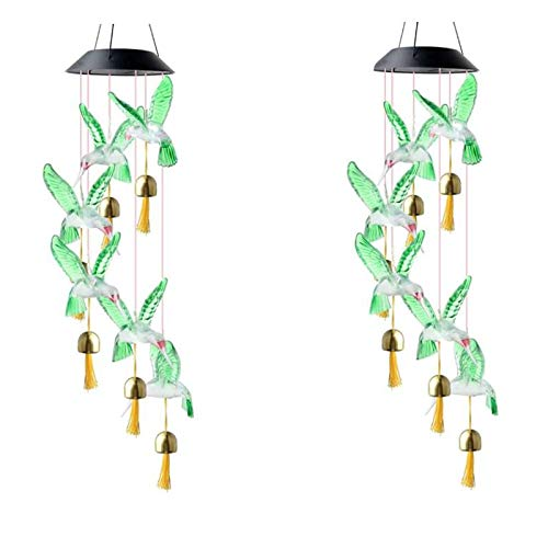 SNOWINSPRING 2 Pcs Solar bird Wind Chimes Outdoor,LED Color Changing Solar Wind Chime with 6 Bells,Solar Lights Garden Decor