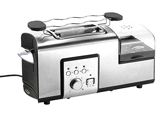 Rosenstein & Söhne Toaster Eierkocher Kombi: 3in1-Edelstahl-Multifunktionstoaster mit Eierkocher, 1.250 Watt (Miniküche)