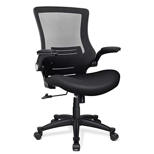 Funria Ergonomic Mesh Office Chair Swivel Mesh Desk Chair Flip Up Arms Black Mesh Computer Chair with Lumbar Support Height Adjustable Task Chairs