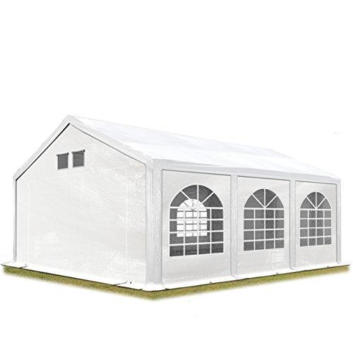TOOLPORT Partyzelt Festzelt 4x6 m in weiß Professional ca. 300 g/m² PE Plane Wasserdicht UV Schutz mit BODENRAHMEN Gartenzelt