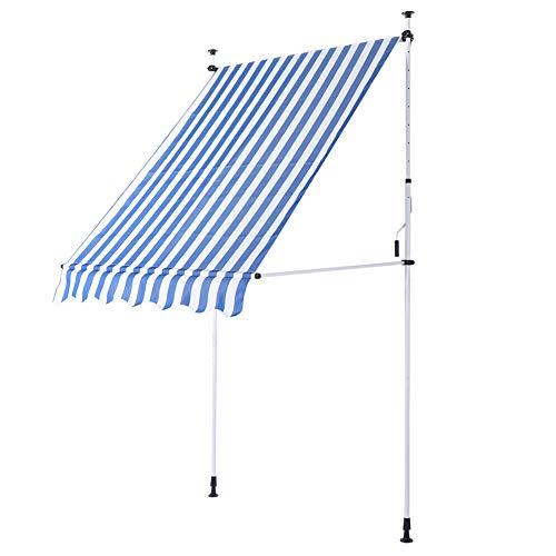 Toldo retráctil de operación manual para exteriores - Altura ajustable - Toldo retráctil ideal para usar frente a la ventana, en la terraza, el balcón o en su jardín - Medidas 3 x 1,2 metros