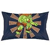 yantaiyu Couch Cushions Blanka Street Fighter Rétro Japonais Maison Taie d'oreiller Anime Standard 40X60Cm Taie d'oreiller Mignon Caché Fermeture Éclair Rectangle Cadeau Confortable Chambr