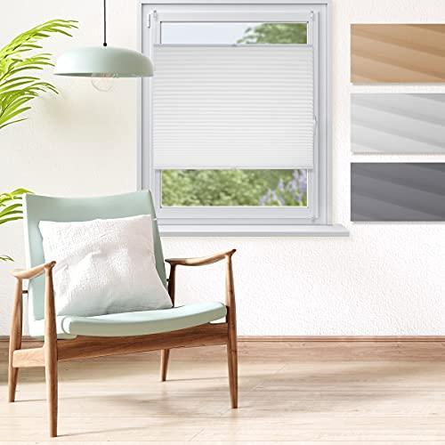 ECD Germany Premium Plissee 120 x 150 cm - Weiß - Klemmfix - EasyFix - ohne Bohren - Sonnen- und Sichtschutz - für Fenster und Tür - inkl. Befestigungsmaterial - Jalousie Faltrollo Fensterrollo Rollo
