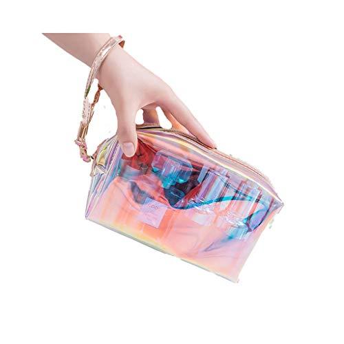 Unbekannt Farbe Laser transparente Kosmetiktasche weibliche tragbare Hautpflege Lagerung wasserdichte Reise-Waschbeutel (Color : Pink -c)