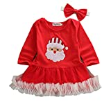 Christmas Newborn Infant Baby Girls Stripe Long Sleeve Round Neck Skirt Outfits Dress Clothes Set Santa Claus (Red, 0-6M)
