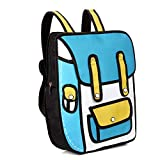 2019新しい3Dジャンプスタイル2D描画漫画紙バッグコミックバックパックメッセンジャートートファッションかわいい学生バッグユニセックスボロス、ブルー