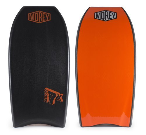 "Morey Mach 7X 41.5-42.5"" Bodyboard - Choose Size and Color (Black/Orange, 41.5"")"
