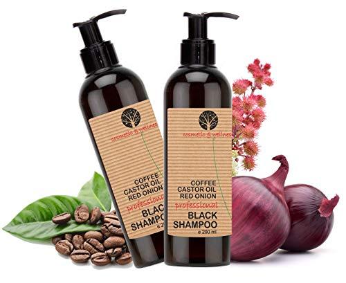 Shampooing Noir Anti Pollution Volumateur à la Caféine, Huile de Ricin et Extrait d'Oignon Rouge Efficace contre la perte de cheveux Shampoing sans sulfate 2 x 200 ml