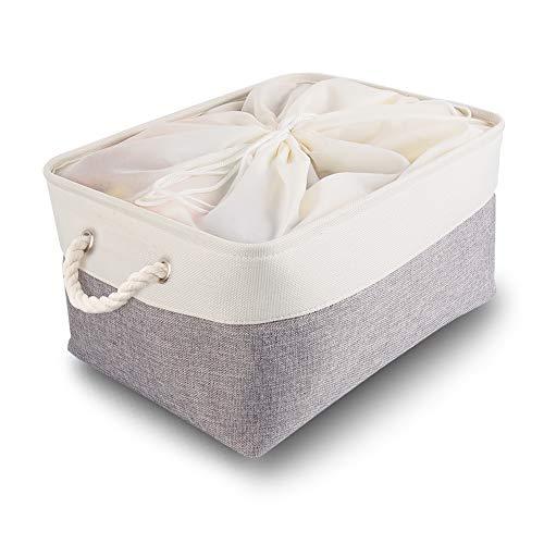 Mangata scatole per Armadio, contenitori per Armadio, Extra Grande Cesto portaoggetti Pieghevole con Manici per Vestiti, Asciugamani, Giocattoli (50x40x30 cm, Bianco Grigio)