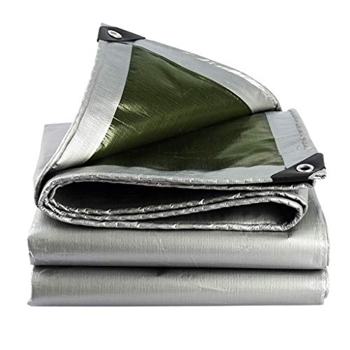 QIURUIXIANG - Lona resistente al agua resistente al agua para tienda de campaña de campaña verde y plateado - Cubierta de calidad de 180 g/m hecha de lona (tamaño: 9,8 veces; 10 pies) QI-224
