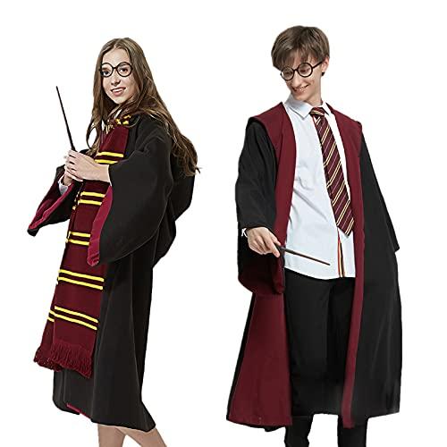 Amycute Costume di Wizard, Grifondoro Deluxe Accappatoio Costume + Occhiali da Mago Rotondi + Bacchetta Magica di Plastica + Cravatta + Sciarpa Lunga (M)