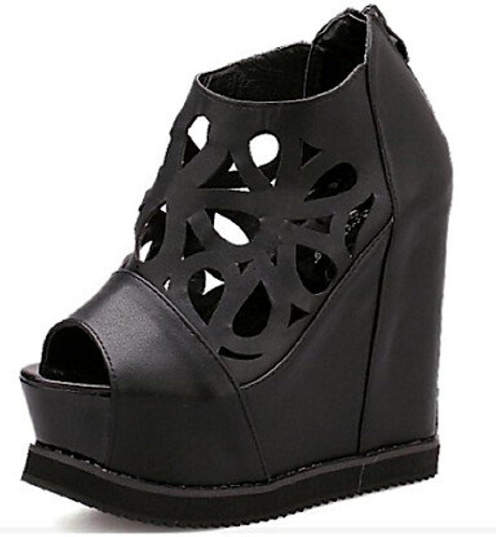 MEIREN Women's shoes Wedge Heel Wedges Peep Toe Sandals Casual Black White