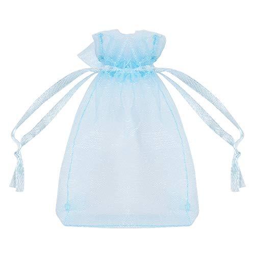 FLOFIA 100 Bolsas Bolsitas de Organza de Boda 7x9cm Azul Pequeñas Bolsas Regalo Organza Tul para Joyas Joyería Arroz Recuerdo Favores Detalles de Boda Caramelo Dulces, Azul