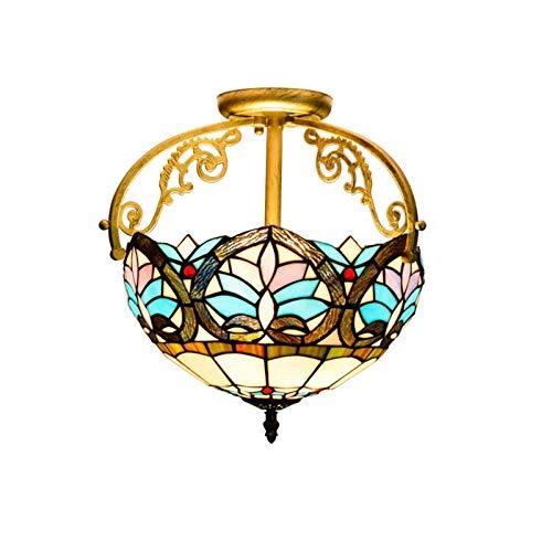 HOUTIAXDYT Luz de Techo Semi de Montaje de 12 Pulgadas, Estilo Tiffany Retro vitrales lámparas Colgantes de Techo, iluminación Colgante para Dormitorio, Pasillo, balcón, Entrada, baño