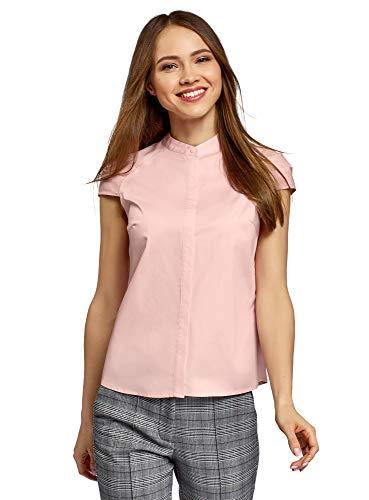 oodji Ultra Mujer Camisa con Cuello Mao de Manga Corta Raglán, Rosa, ES 34   XXS