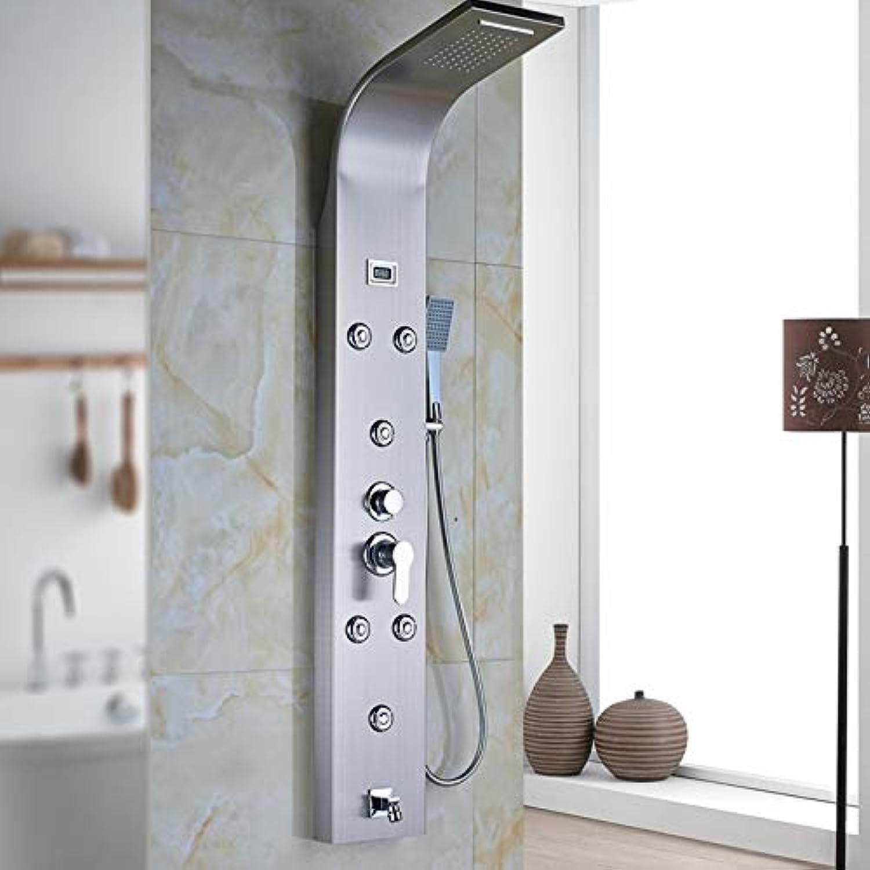Duschset aus gebürstetem Nickel Wasserfall-Regenwanne Duschsulenverkleidung mit Handbrause Digitale Temperaturanzeige Leistung durch Batterie