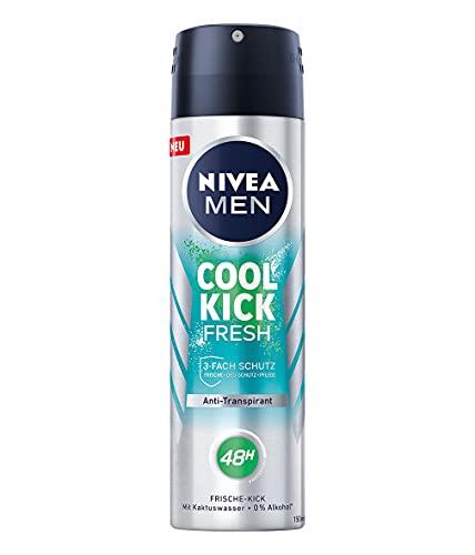 NIVEA MEN Cool Kick Fresh Deo Spray (150 ml), Deodorant schützt 48h gegen Schweiß und Körpergeruch, Anti-Transpirant mit Kaktuswasser und leichter Formel