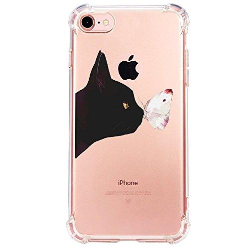 Funda iPhone 6/6S/7/7 Plus/8/8 Plus Carcasa Silicona Transparente Protector TPU Airbag Anti-Choque Ultra-Delgado Anti-arañazos Gatos y Mariposas Caja para Apple Caso (iPhone 6/6S, Patrón 03)
