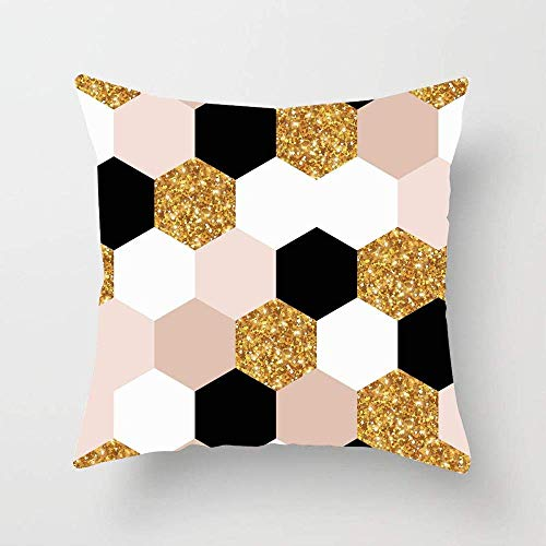 N\A Pink Chic Abstract Geometric Pattern Gold Swatch Christmas Nude Rose Geometry Black Holiday Throw Pillow Cover Funda de Almohada Personalizada para sofá Dormitorio Coche