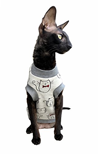 Kotomoda T-Shirt pour Chat Blanc Nœud Papillon Chat (M)