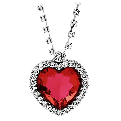 XP Juego Collar Moda Diamante Aleación Amor Corazón Colgante 945274, rojo