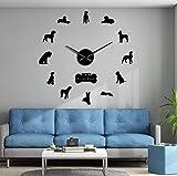 Dengjiam Raza de Perro alemán Arte de Pared alemán Decoración para el hogar Gran danés DIY Gran Reloj de Pared 3D Sala de Estar Reloj de Pared Decorativo silencioso