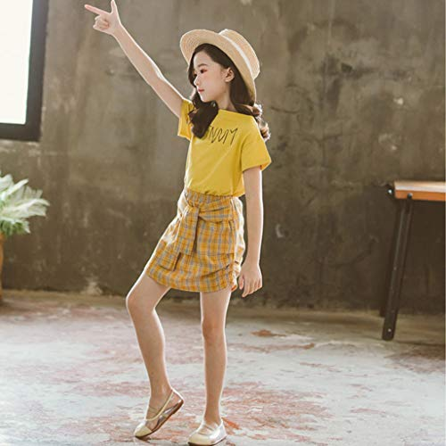 3-12 Años,SO-buts Niñas Bebés Verano Casual Encantador Moda Carta Tops Camisetas Conjunto De Faldas De Punto a Cuadros Trajes (Amarillo,9-10 años)