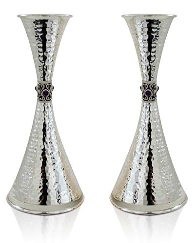 Large 925 Sterling silver hammered Candlesticks with Amethyst stones two cone-shaped Jewish Wedding gift