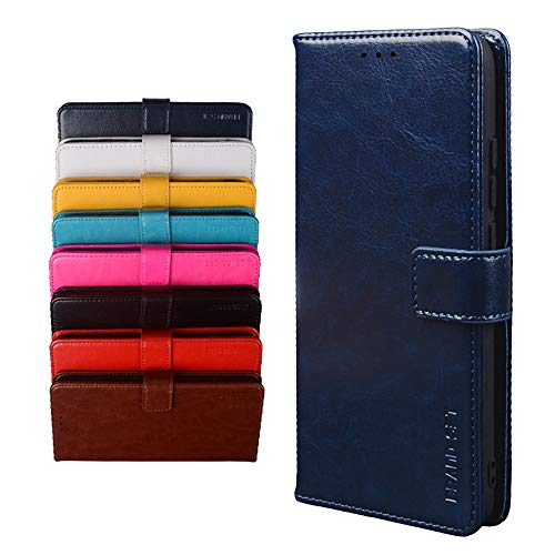 BRAND SET Schutzhülle für TP-Link Neffos X20 Handyhülle Brieftasche Kunstleder mit Magnetverschlussverriegelung & Stent-Funktion Geeignet Flip Handyhülle für TP-Link Neffos X20(Dunkelblau)