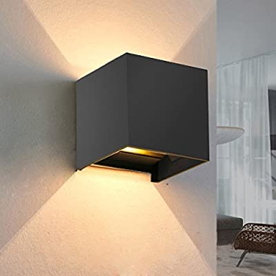 INHDBOX 7W Dimmable Outdoor Wall Sconces, Adjustable Waterproof Wall Lamps- 3000K Warm Light LED Aluminum Exterior Lights