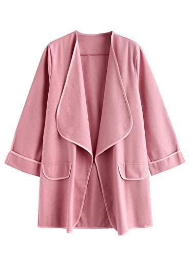 ZAFUL Women Faux Pockets Open Front Draped Coat Outwear Winter L Pink 08 Womens Pink T-shirt