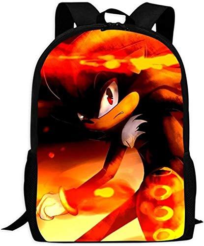 XWXBB Laptop-rugzak, Shadow The Hedgehog zwart So-NIC | Schooltassen rugzak met meerdere zakken voor kinder/jongeren/jongens en meisjes