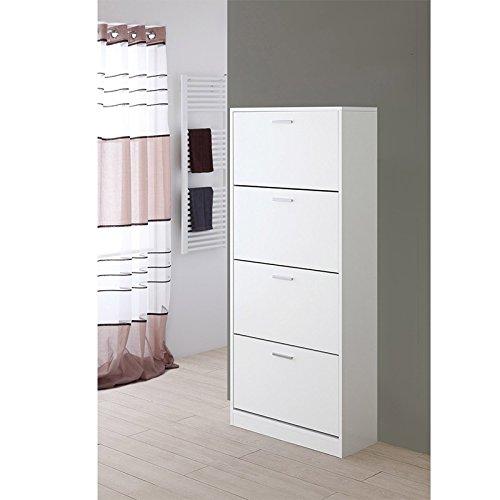 Feridras Schoenenkast, 4 vakken, wit, 29 x 70 x 156 cm