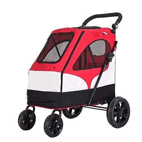 GTC kinderwagen grote huisdier kinderwagen, set trolley, vouwen grote ruimte lagers 55KG voor Outbound, huisdier benodigdheden, inklapbare vier wielen kat en hond universele hond, Rood
