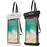 """ProCase [2個セット]防水ケース IPX8認定 携帯電話用ドライバッグ 最大7.0""""スマホに対応可能 適用端末:iPhone 12 Pro Max 11 Pro Max Xs Max XR X 8 7 6S, Galaxy S20 Ultra S10 Note10 9 -ホワイト/ブラック"""