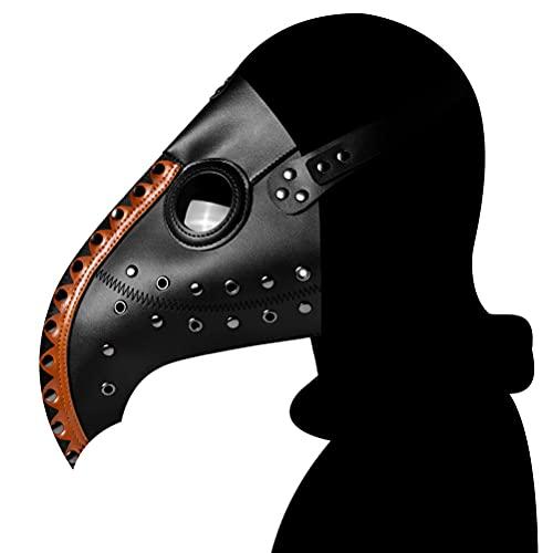 HUSHUI Mscara de mdico de la Peste, Cubierta de Cara de Terror de Halloween, Cubierta de Piel sinttica con Pico Punk, Cubierta Facial Steampunk para Disfraz de Fiesta de Halloween